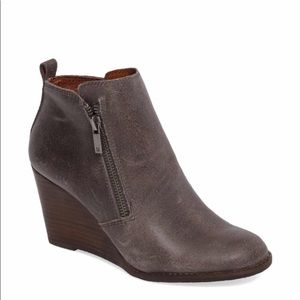 Lucky Brand Yesterr Ankle Bootie Leather Wedge
